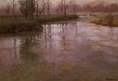 On A French River by Frits Thaulow