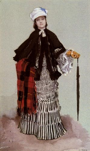 A Lady in a black and white Dress by James Tissot