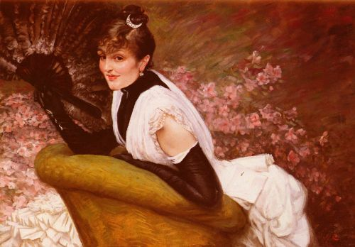 Portrait of a Woman at L'Eventail by James Tissot