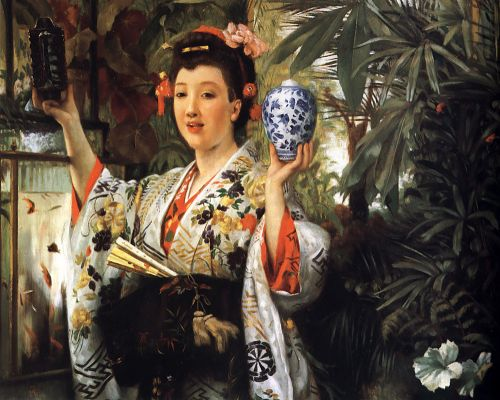 Young Lady Holding Japanese Objects by James Tissot