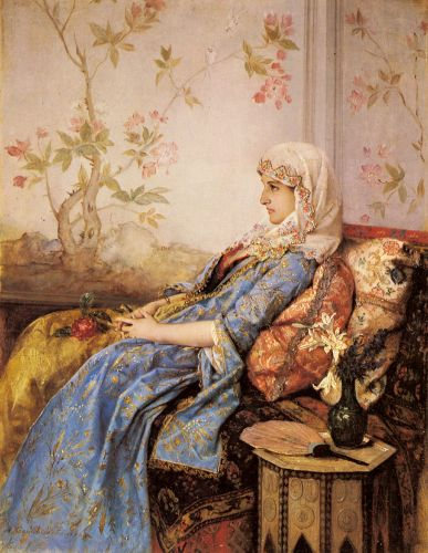 An Exotic Beauty in an Interior by Auguste Toulmouche