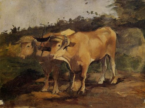 Two Bulls Wearing a Yoke by Henri de Toulouse-Lautrec
