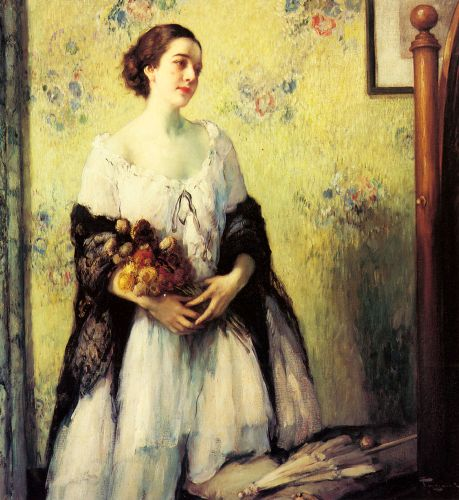 A Young Woman holding a Bouquet of Summer Flowers by Fernand Toussaint