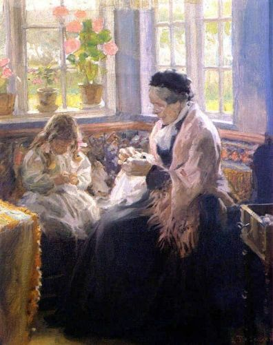 The Artist's Mother and Daughter by Laurits Tuxen