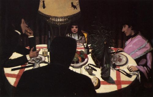 Dinner by Lamplight by Félix Vallotton