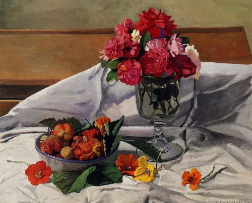 Flowers and Strawberries by Félix Vallotton