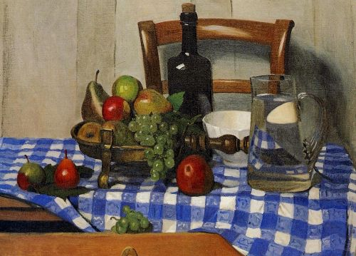 Still Life with Blue Checkered Tablecloth by Félix Vallotton