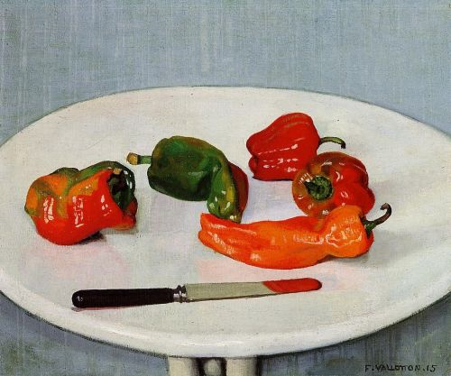 Still Life with Red Peppers on a White Lacquered Table by Félix Vallotton