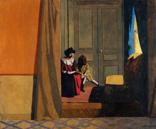 Woman Reading to a Little Girl by Félix Vallotton