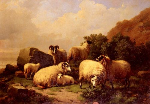 Sheep Grazing By The Coast by Eugène Joseph Verboeckhoven