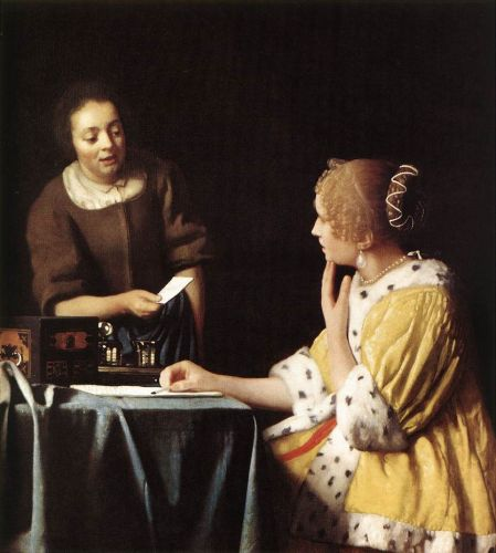 Lady with Her Maidservant Holding a Letter by Jan Vermeer