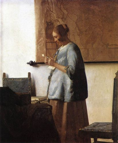 Woman in Blue Reading a Letter by Jan Vermeer