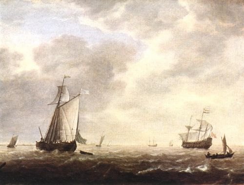 A Dutch Man-of-war and Various Vessels in a Breeze by Simon de Vlieger