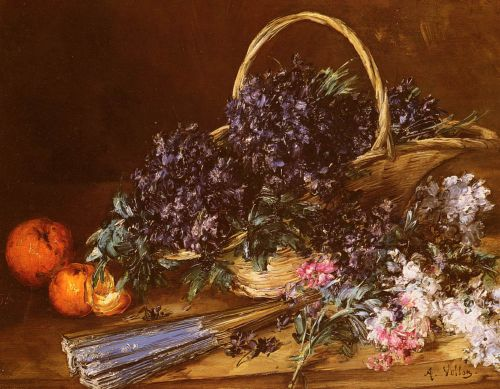A Still Life with a Basket of Flowers by Antoine Vollon