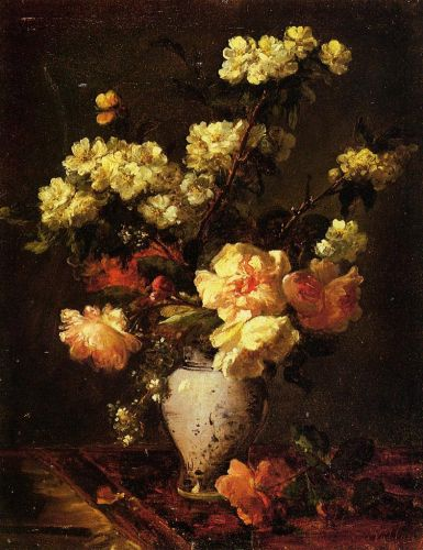 Peonies and Apple Blossoms in a Chinese Vase by Antoine Vollon