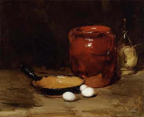 Still Life with a Pen, Jug, Bottle and Eggs on a Table, 1871 by Antoine Vollon