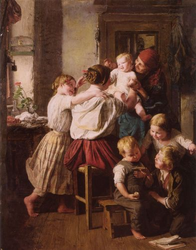 Children Making Their Grandmother a Present on Her Name Day by Ferdinand Georg Waldmüller