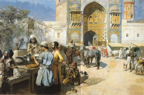An Open-Air Restaurant, Lahore by Edwin Lord Weeks