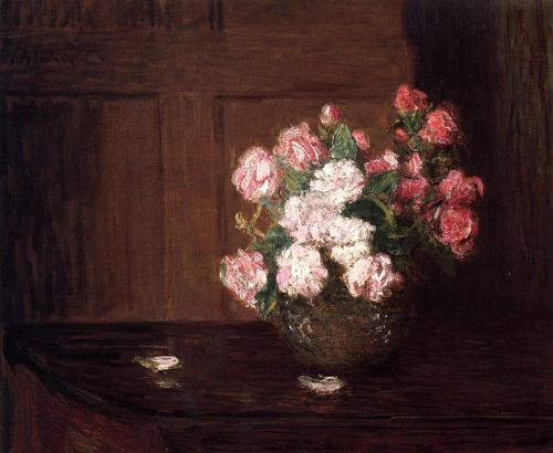 Roses in a Silver Bowl on a Mahogany Table by Julian Alden Weir