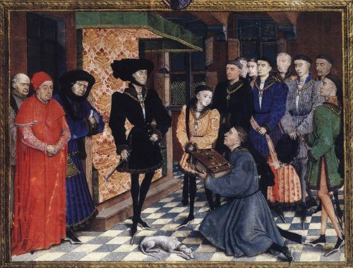 Miniature from the first page of the Chroniques de Hainaut by Rogier van der Weyden