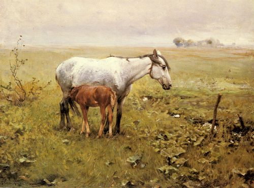 A Mare and her Foal in a Landscape by Alfred von Wierusz-Kowalski