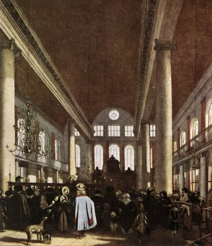 Interior of the Portuguese Synagogue in Amsterdam by Emanuel de Witte