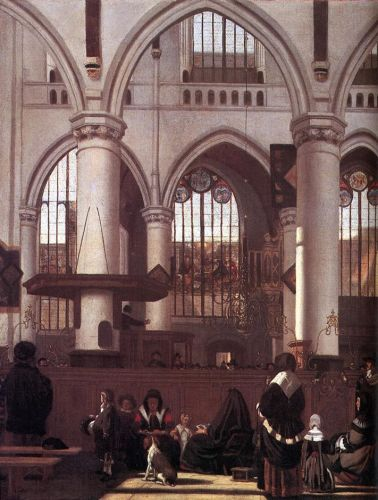 The Interior of the Oude Kerk, Amsterdam, during a Sermon by Emanuel de Witte