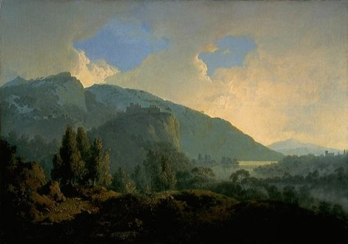 An Italian Landscape with Mountains and a River by Joseph Wright