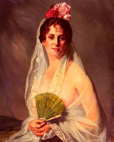 A Lady With A Fan by Ignacio Zuloaga Zabaleta