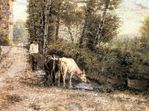Cows Watering at a Quiet Pool by Eugenio Eduardo Zampighi