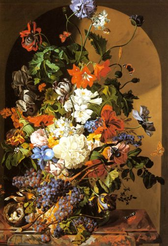 A Still Life with Flowers and Grapes by Leopold Zinnogger