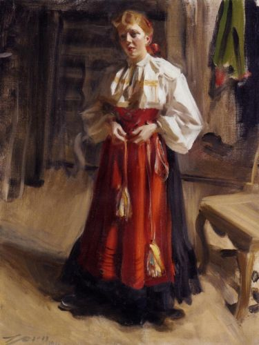 Girl in an Orsa Costume by Anders Zorn