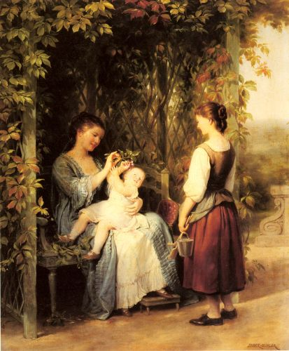 Tickling the Baby by Fritz Zuber-Buhler