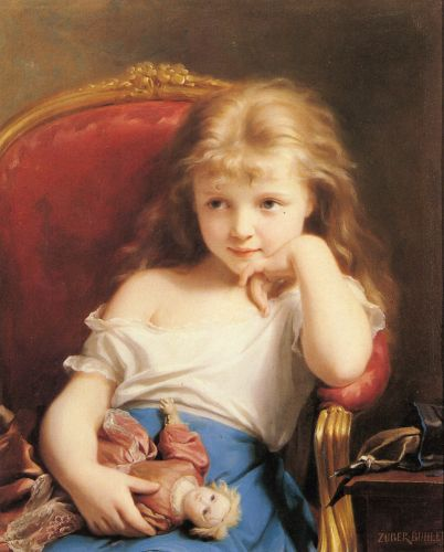 Young Girl Holding a Doll by Fritz Zuber-Buhler