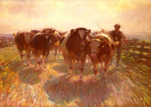 Cattle Drive on the Farm Road by Heinrich von Zügel