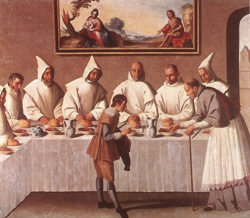 St Hugo of Grenoble in the Carthusian Refectory by Francisco de Zurbarán